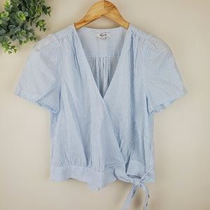 Madewell Blue White Striped Short Sleeve Wrap Top